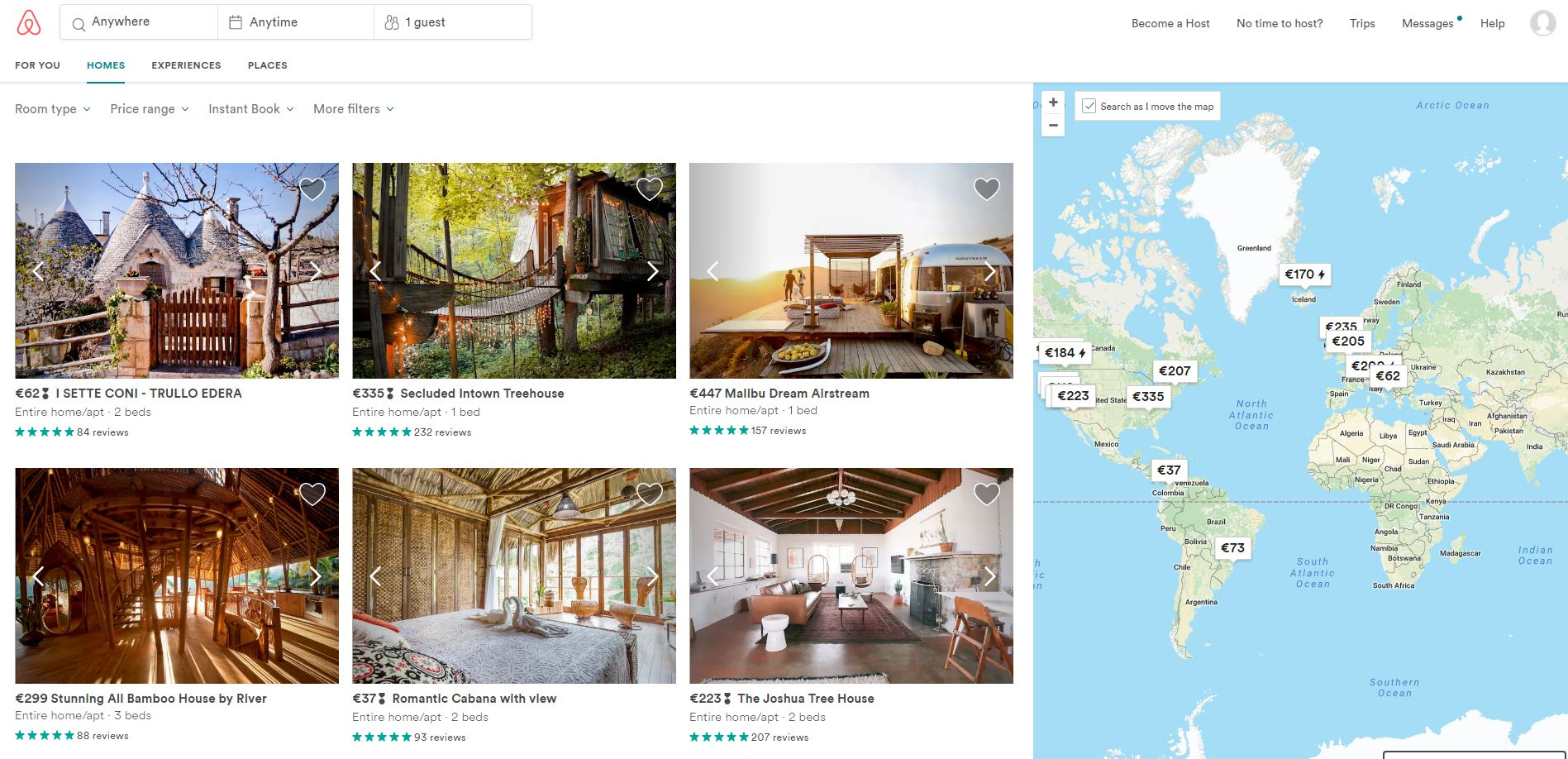 Airbnb website and offers map